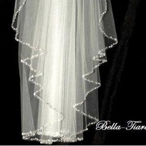 Crystal edge ivory cathedral wedding veil